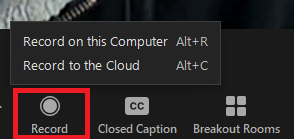 record button highlighted in toolbar