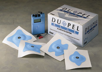 Battery-powered iontophoresis unit with electrodes which are available in a variety of shapes and sizes