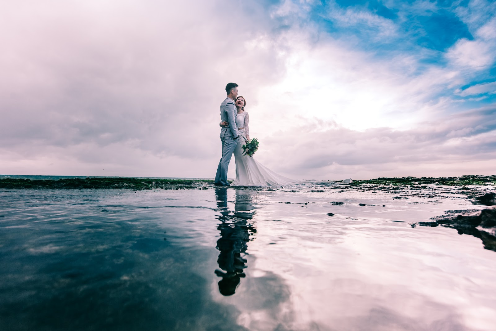 wedding couple by water