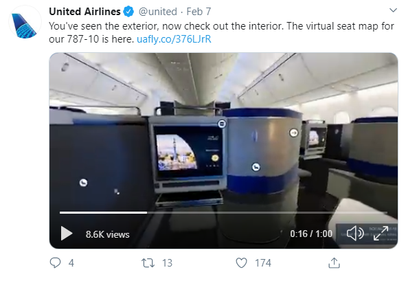 Social media post idea – United Airlines uses 360-degree video