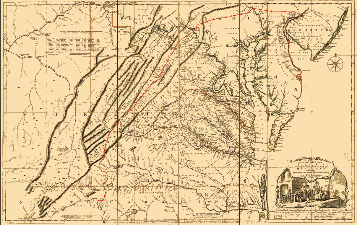 1751 Fry-Jefferson map depicting 'The Great Waggon Road to Philadelphia'.png