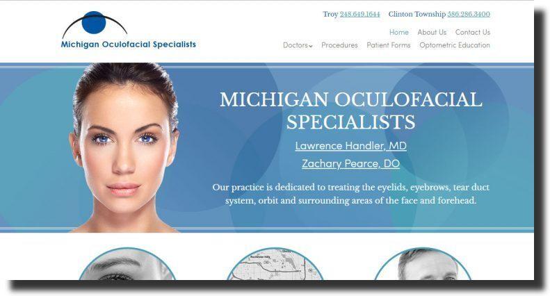 professional website design Michigan Oculofacial Specialists