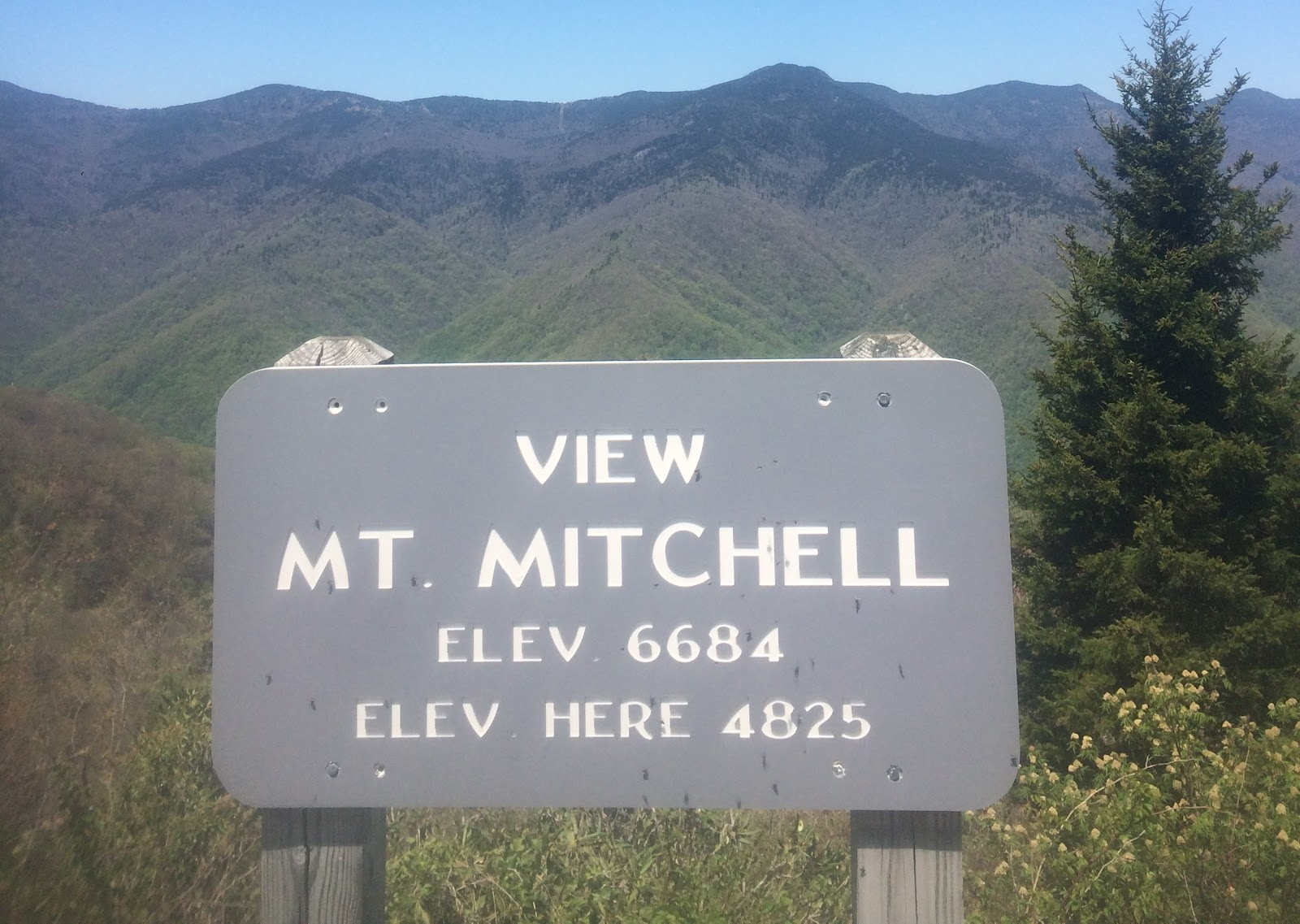 Bicycle climb to Mt. Mitchell - Mt. Mitchell lookout and viewpoint sign.