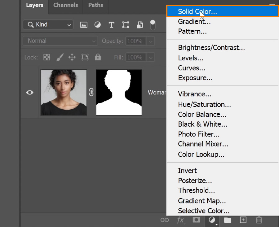 Click on the New Adjustment Layer icon > Solid Color to properly see the applied mask