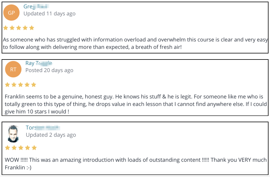 Image of generic testimonials about Savage Affiliates course