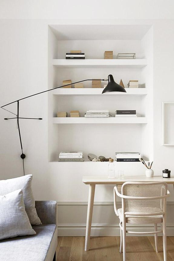 white wood desk white chair caning built in bookshelves modern lamp timeless buckhead home office