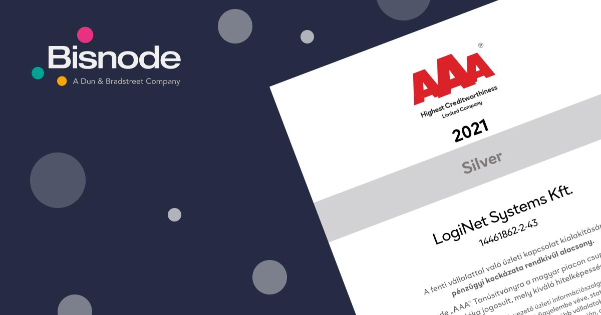 Harmadik éve a Bisnode AAA tanúsítvány birtokában a LogiNet