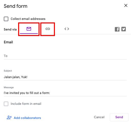 cara membuat google form email or link