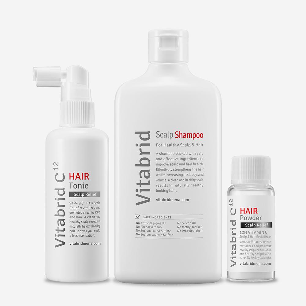 Bộ sản phẩm bao gồm dầu gội Vitabrid Scalp Shampoo và tinh chất kích thích mọc tóc Vitabrid C12 Hair.