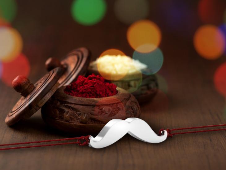 moustache silver rakhi brooch