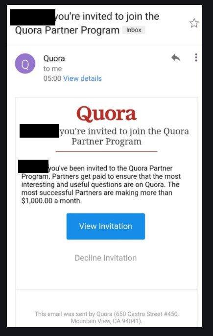 Quora Partner Program Invitation