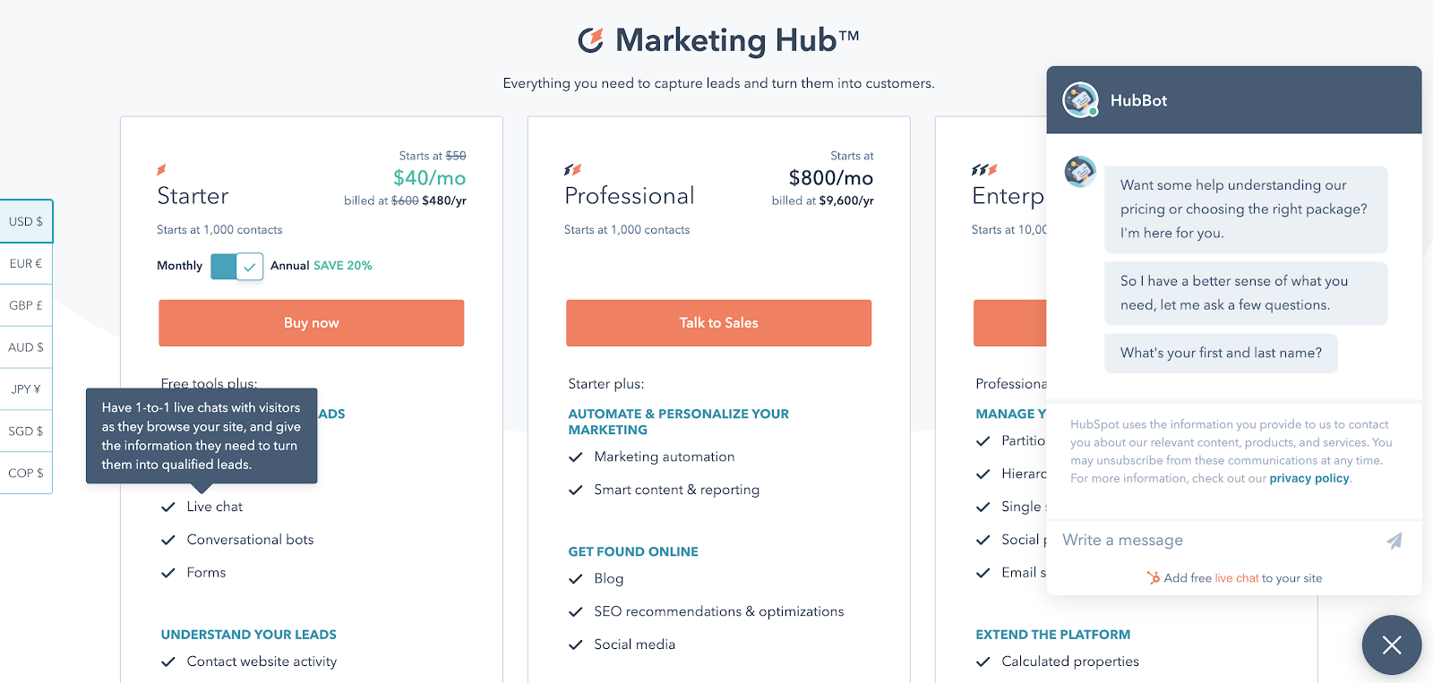 Hubspot pricing page with chatbot.