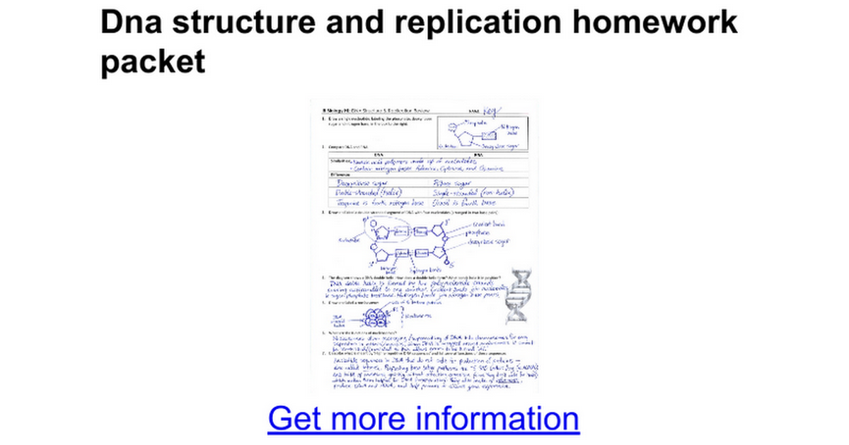 Dna structure and replication homework packet Google Docs – Dna Review Worksheet Answer Key