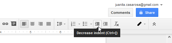 Decreasing the indent