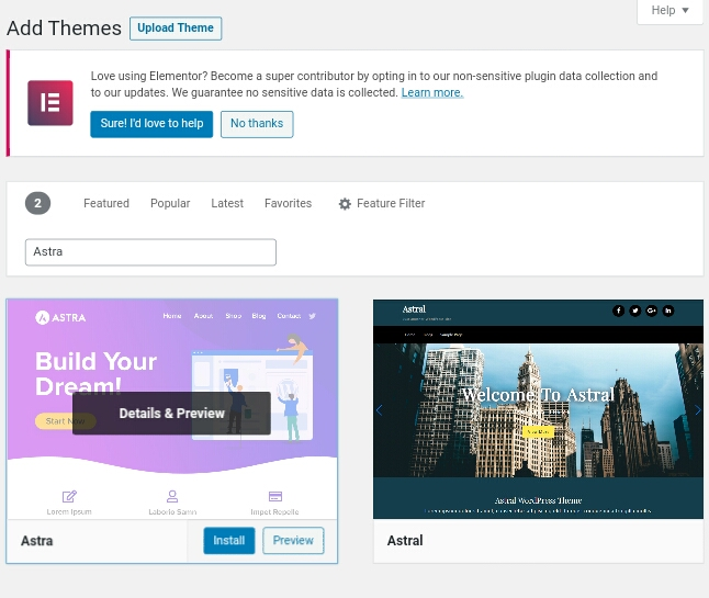 A collection of wordpress themes