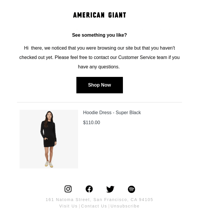 Shopify Email Automation: American Giant