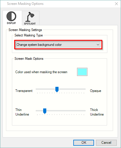 Screen Masking Options