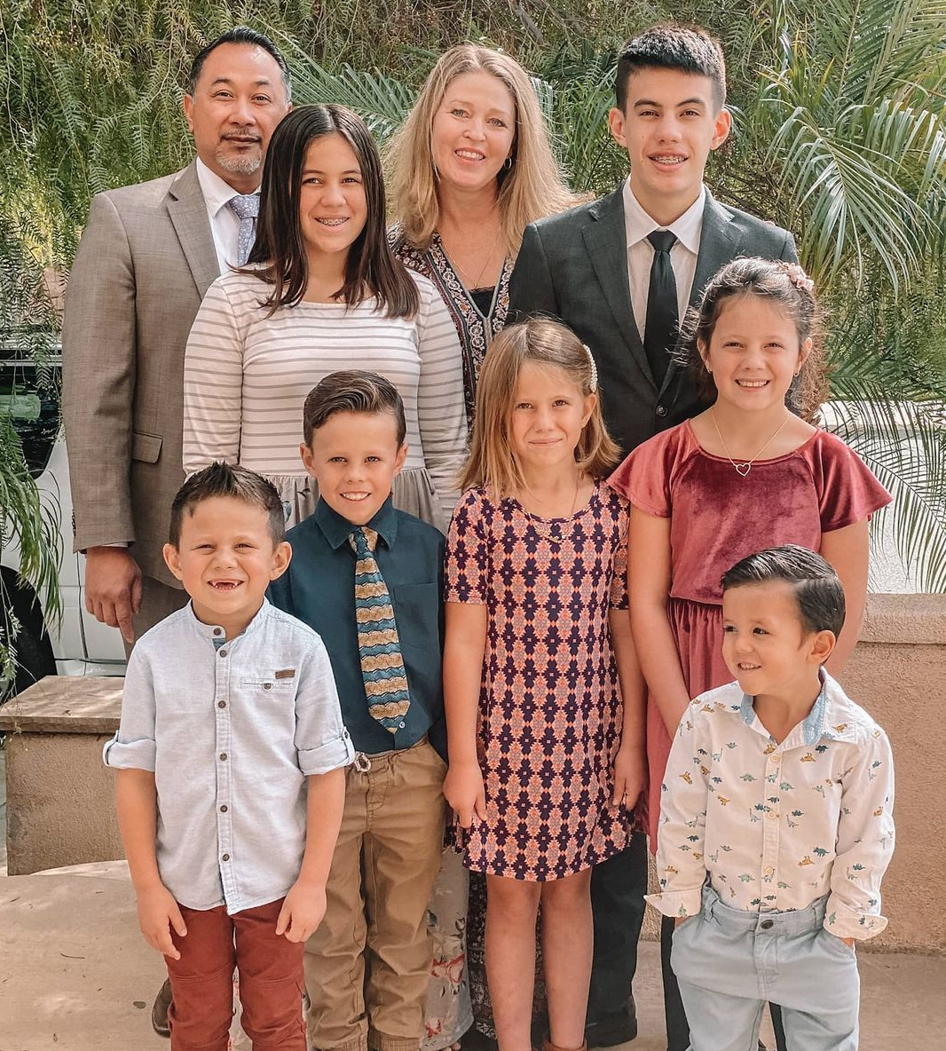 The family all dressed up for church