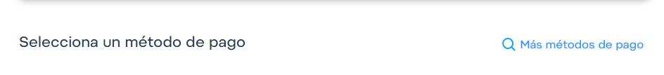 Como es tu primera vez operando con Airtm, no tendrás métodos de pago registrados; deberás hacer clic en: Más Métodos de Pago.
