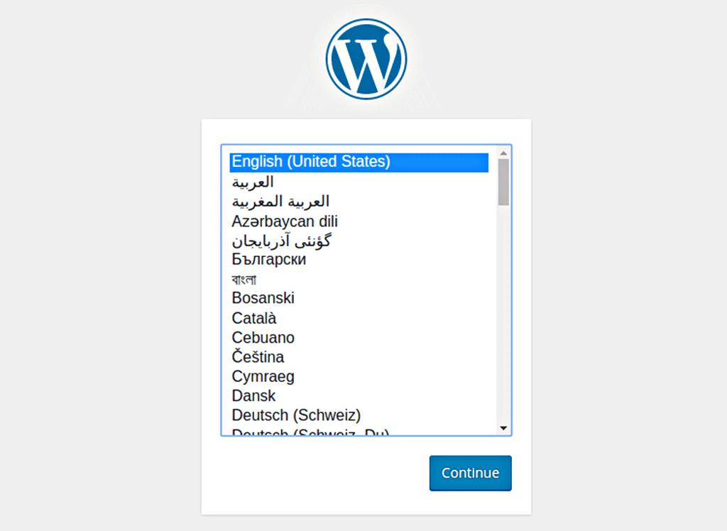 menu de escolha de linguagem durante a instalação do wordpress