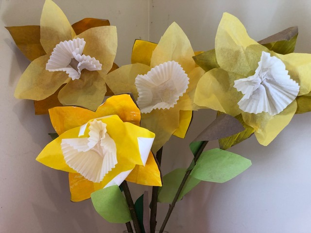This is a photo of a yellow paper flowers.