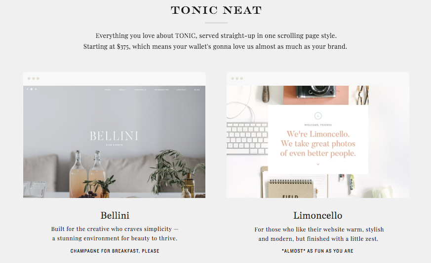 Tonic Neat site designs