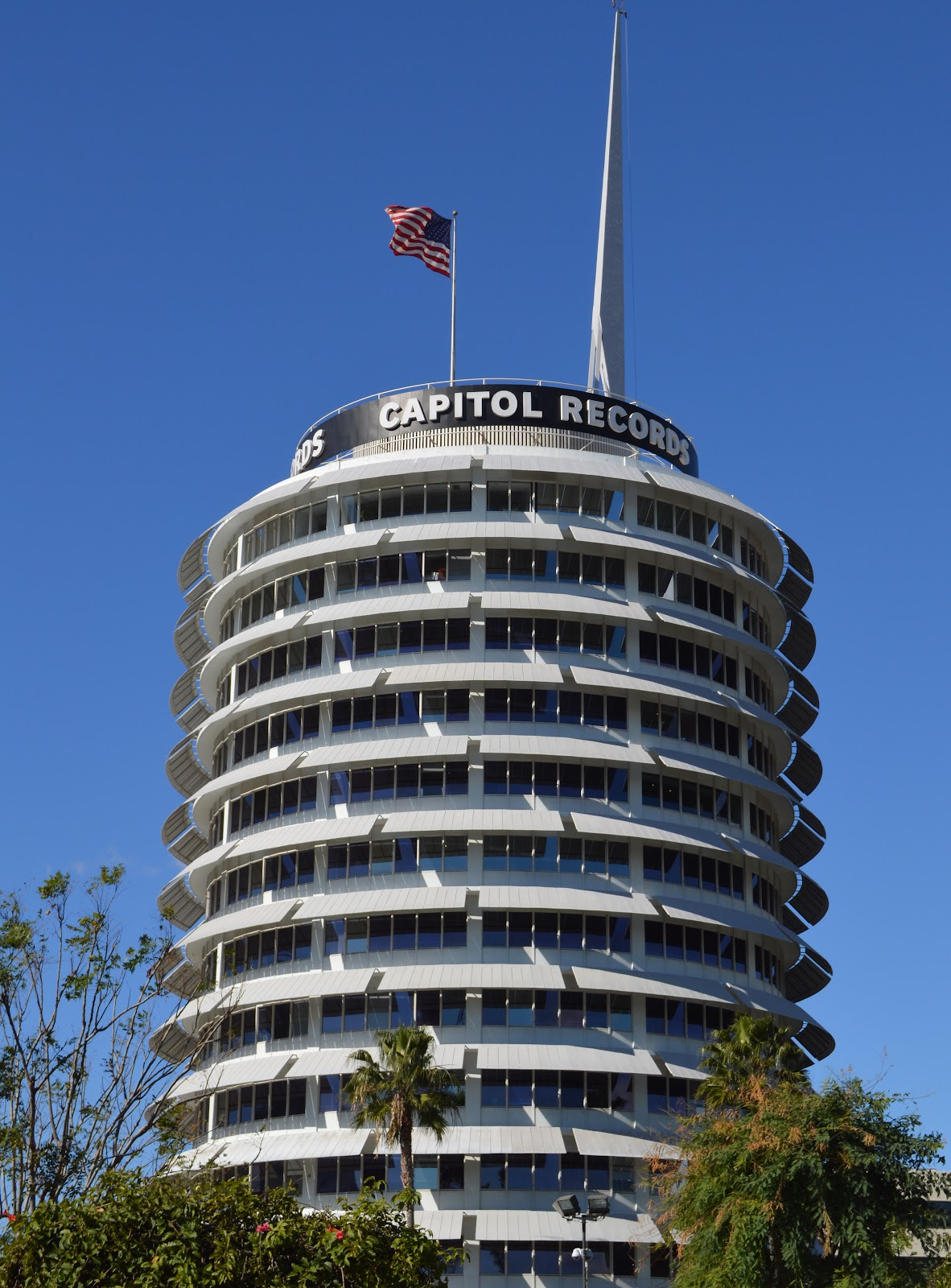 The Capitol Records Building is a 13 story tower in Hollywood
