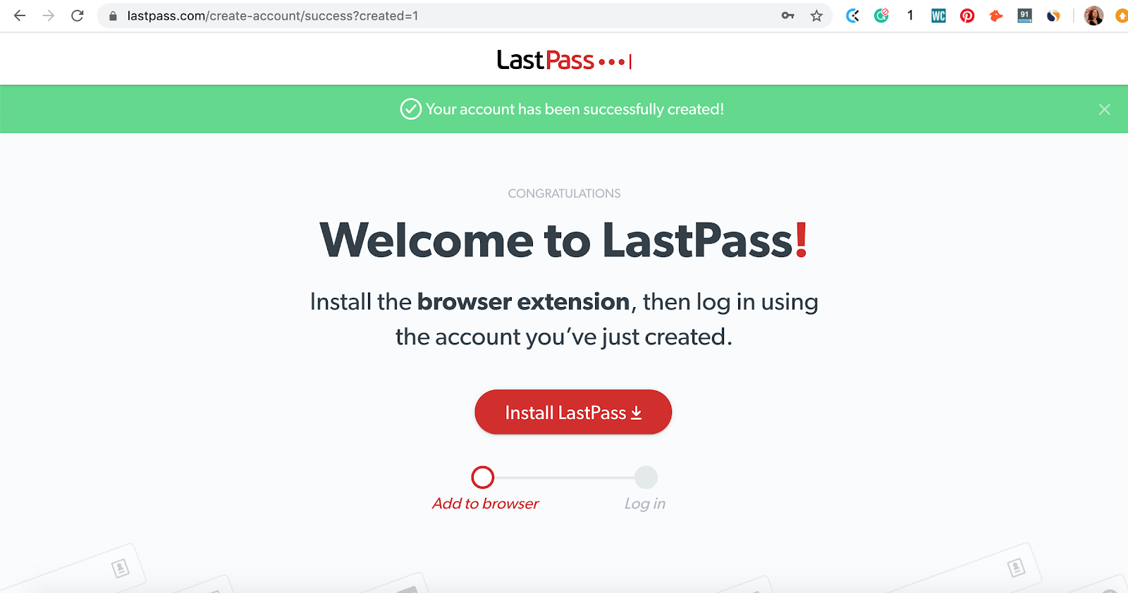 Creating free account on LastPass password manager app. Part of the article by Hana Clode Marketing 'LastPass Password Manager - Apps to Make Your Life Easier'.
