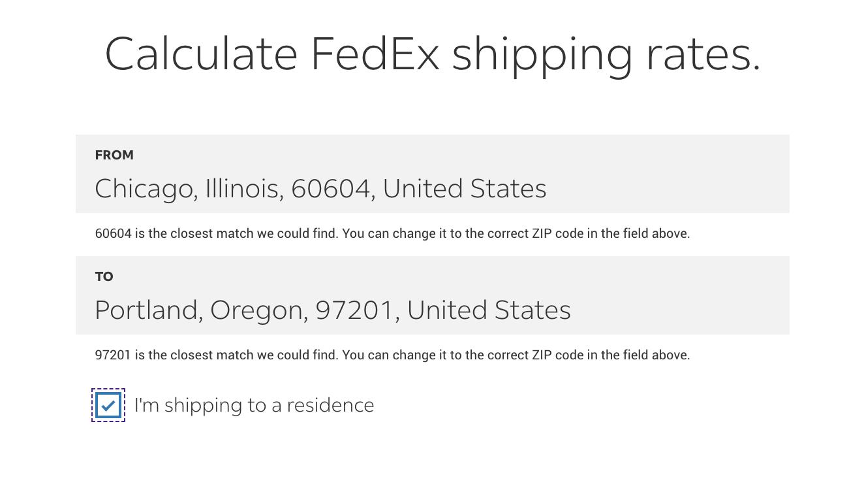 Shipping rates calculator