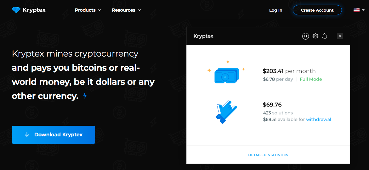 Halaman utama dari website Kryptex dan untuk mendaftar Kryptex
