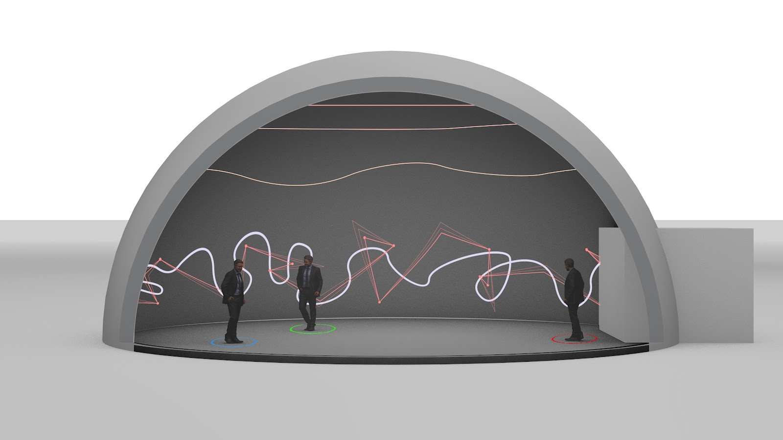 Grey sketch of a dome where three people are surrounded by lights