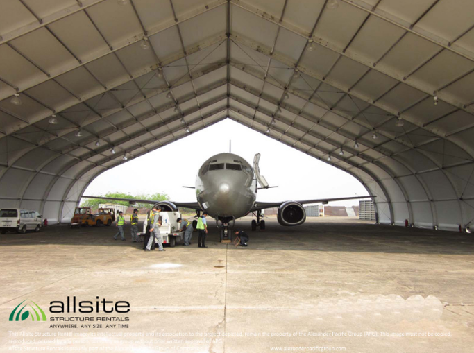 Allsite Fabric Aircraft Hangar interior with jet aircraft and work crews inside