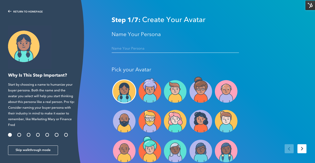 Make My Persona HubSpot blog planning tool