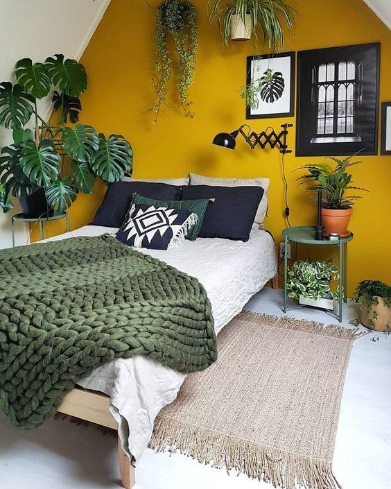 Mid Century Modern Bedroom with Plants