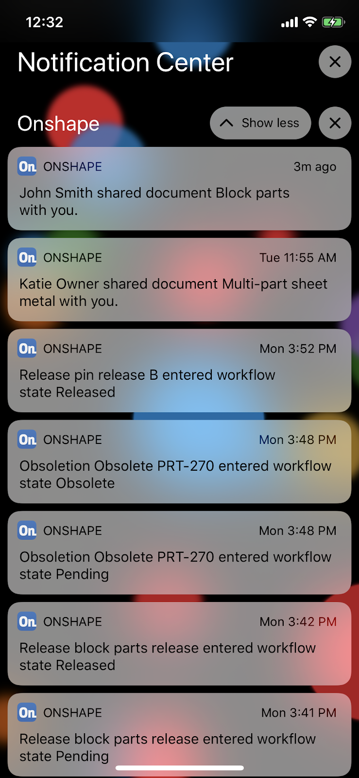 Screenshot of how to set up iOS Onshape Notifications