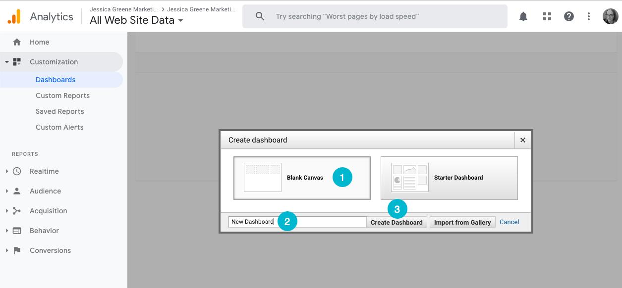 create a blank dashboard in google analytics