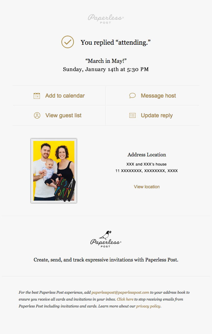 Paperless event confirmation email sample