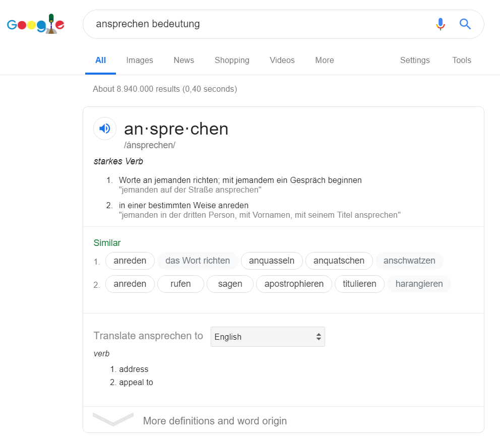 Learning German with Google - Google definition search screenshot