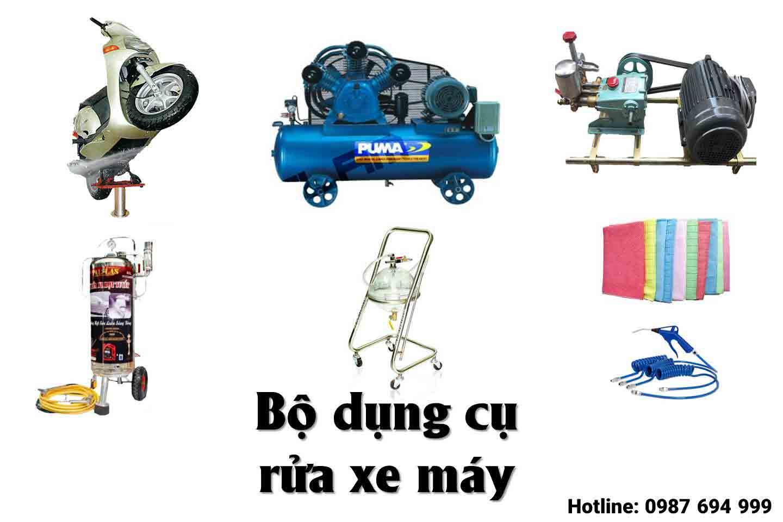 dụng cụ rửa xe máy tại nhà gồm những gì?