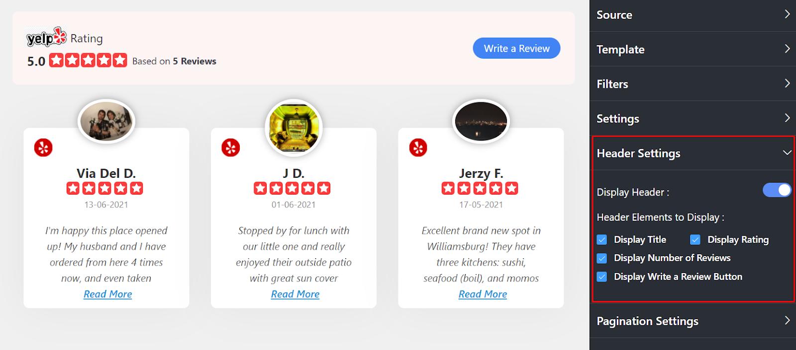 Yelp reviews Header Settings