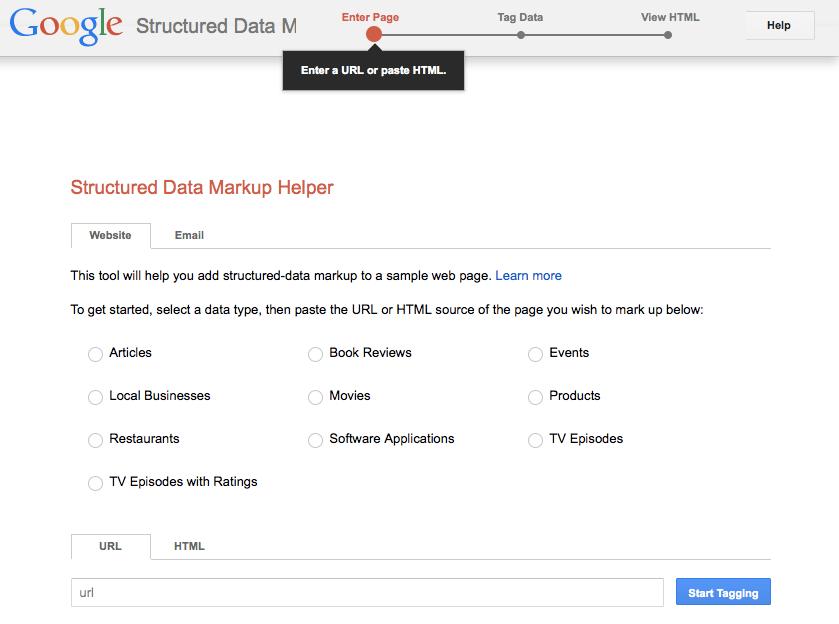 Google Structured Data Markup Helper screen