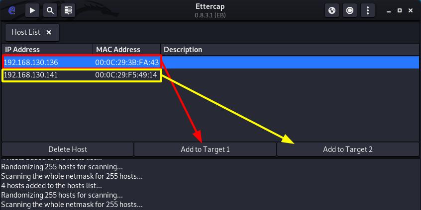 MITM Ettercap ARP Poisoning - Ettercap Assign Hosts to Target. Source: nudesystems.com
