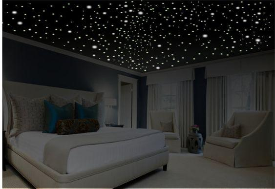 Decoración dormitorio romántico, resplandor en la oscuridad estrellas, regalos románticos, etiqueta romántica, arte romántico pared, etiquetas de la pared removible, etiqueta de techo