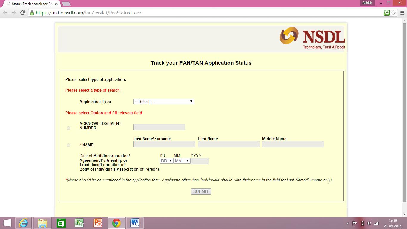Pan Card Status Online in India