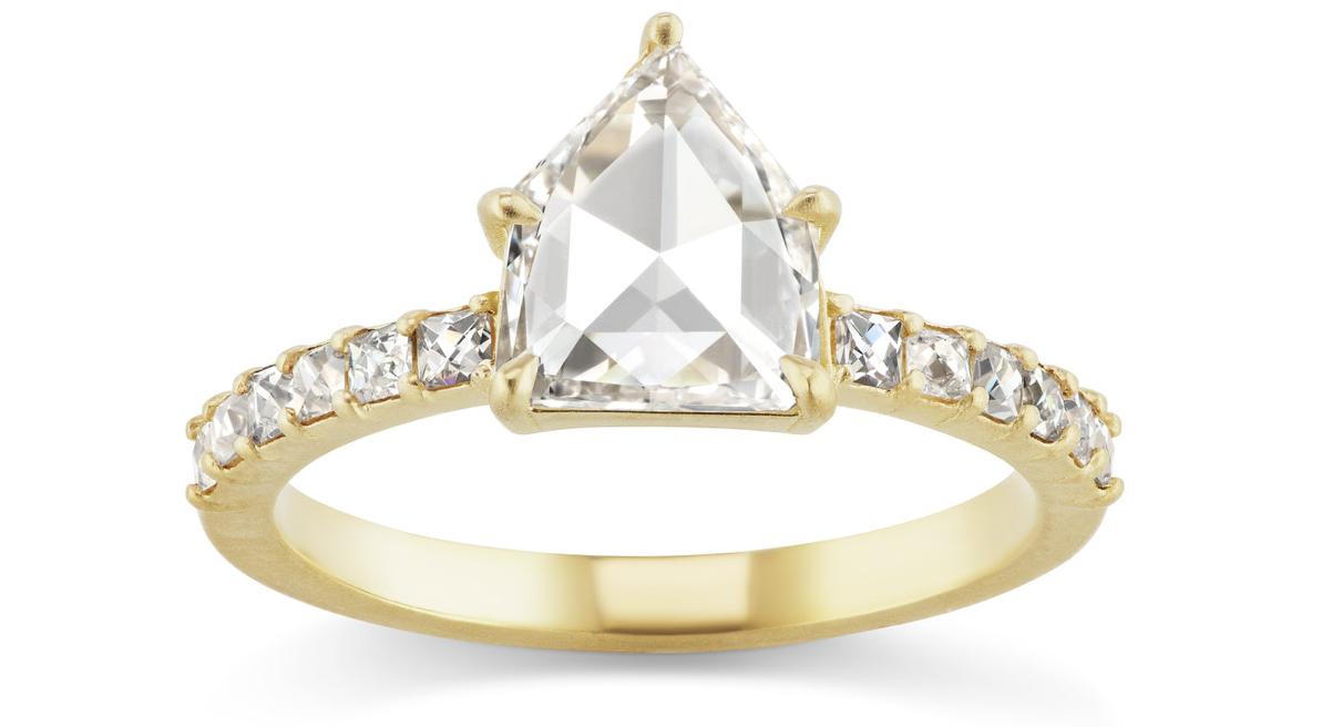 rose cut pentagon engagement ring