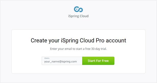 Form for registering an iSpring Cloud account