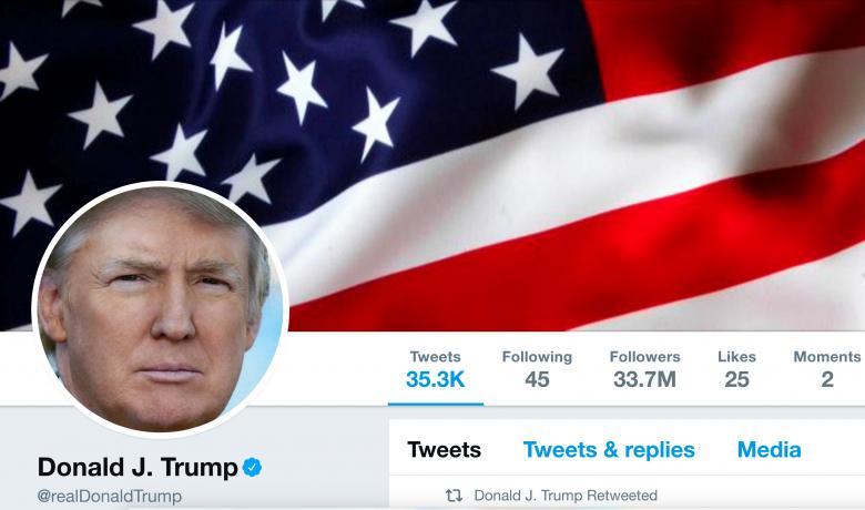 screenshot of Trump's Twitter profile