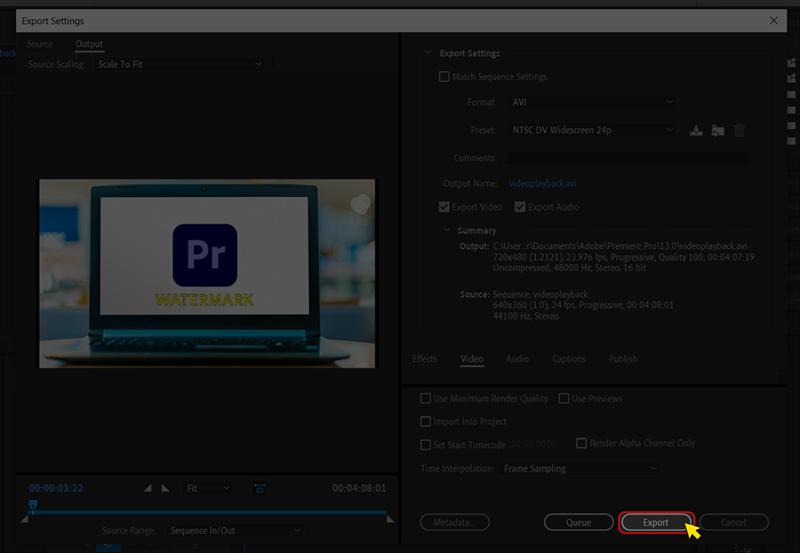 Cuối cùng thì bạn chỉ cần chọn Export để xuất video là xong