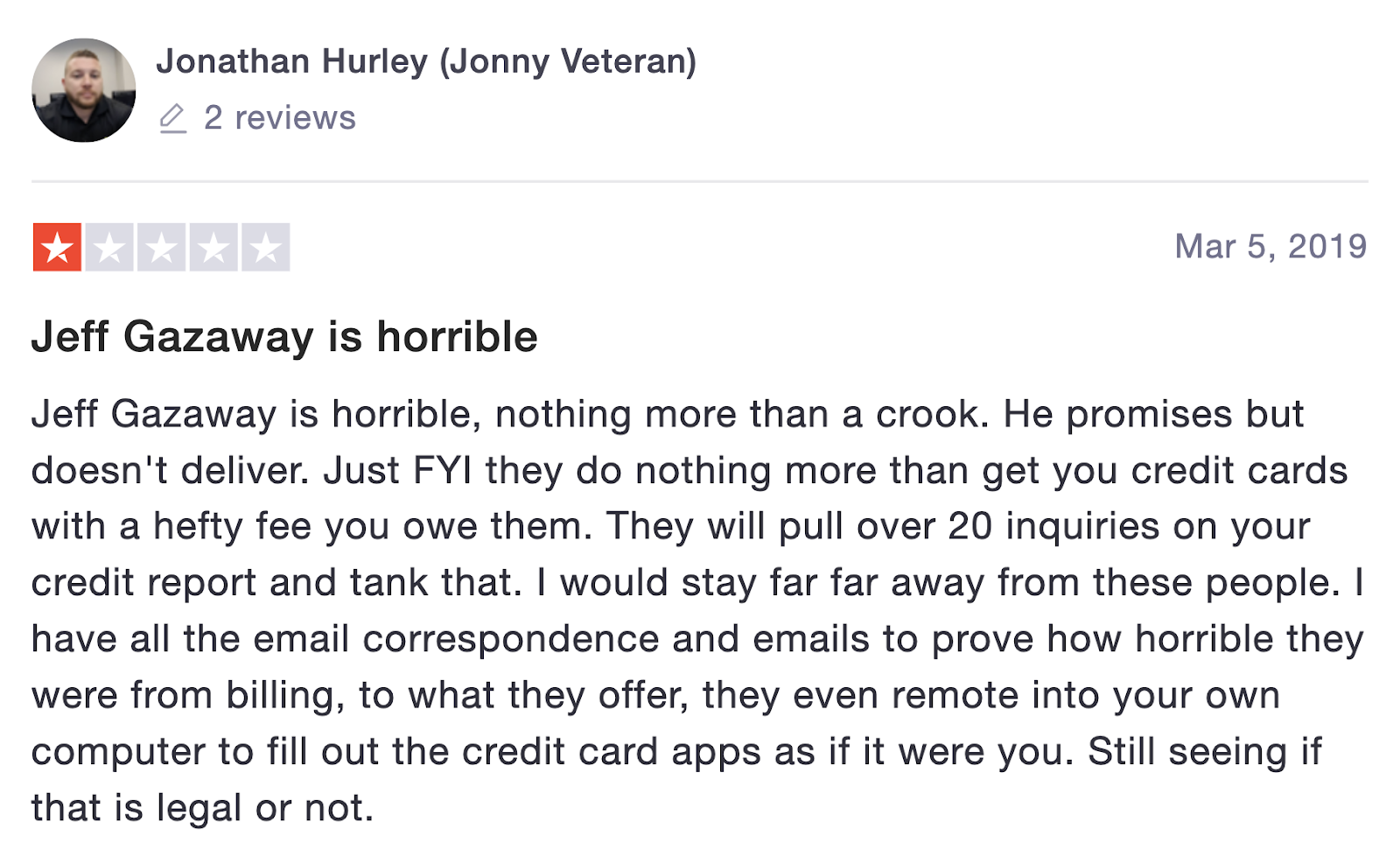 2nd review from jonathan on trustpilot
