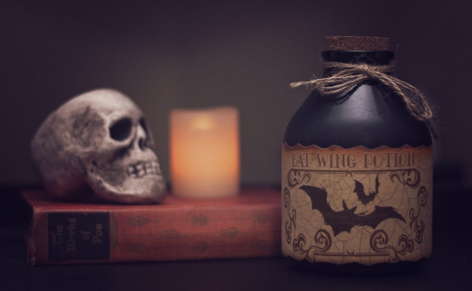 Book, skull, candle, potion Halloween decorations